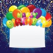 Születésnapi ünnepi Banner színes léggömbök
