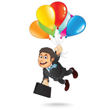 Businessman Fly on Balloons to the Sky
