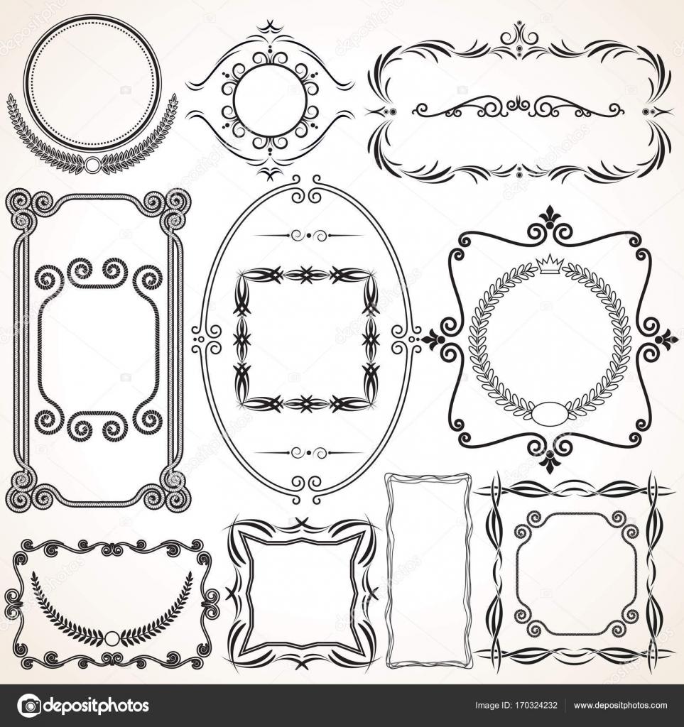 Marcos ornamentales, fronteras — Archivo Imágenes Vectoriales ...