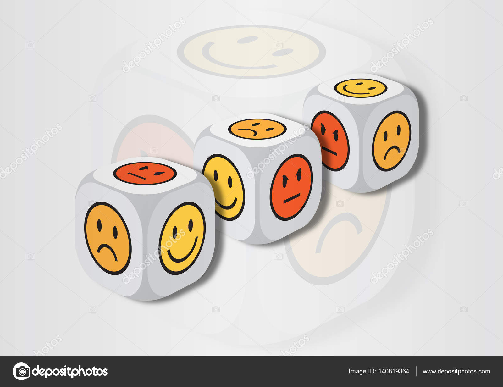 A 3d Illustration Of Three Dice With Emotion Symbols Stock