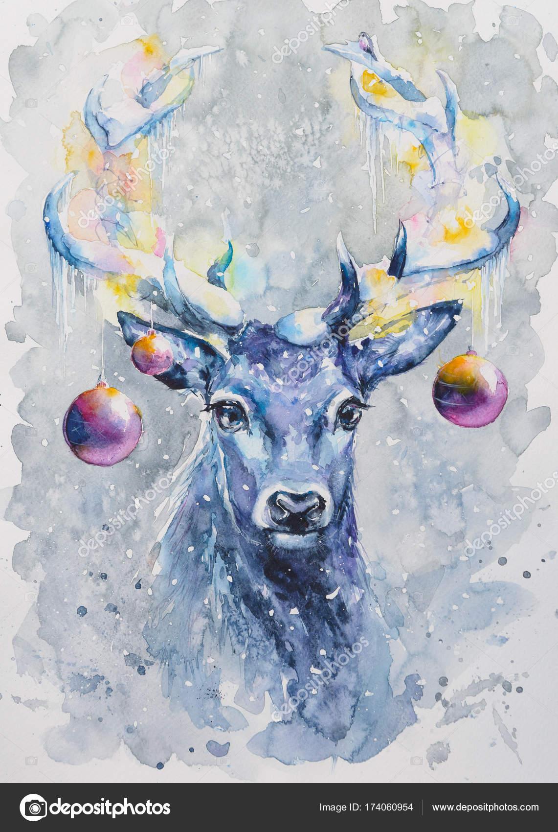 Watercolors Painted Christmas Card Cute Deer Decorated Bells Stock Photo