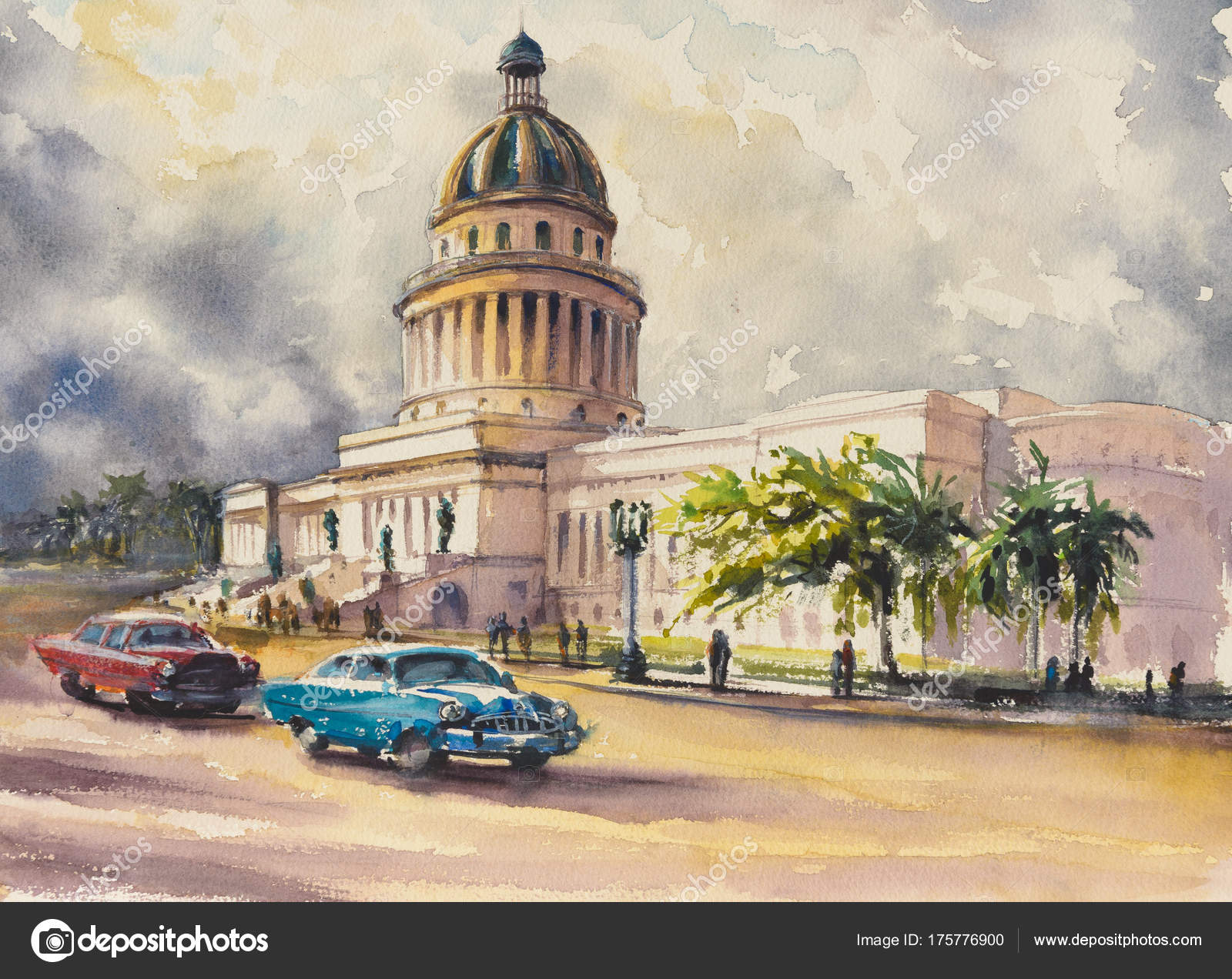 Old Classic American Cars Rides Front Capitol Havana Cuba Picture ...