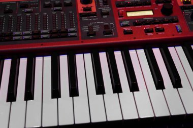 Two octaves electronic musical keyboard synthesizer close-up.