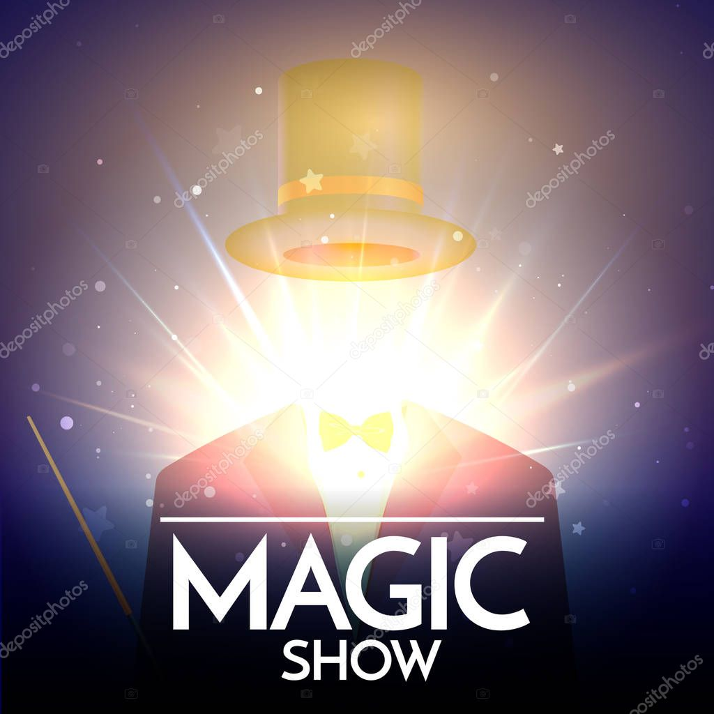 Magic Show Background With Invisible Illusionist. Flying Hat Vector illustration
