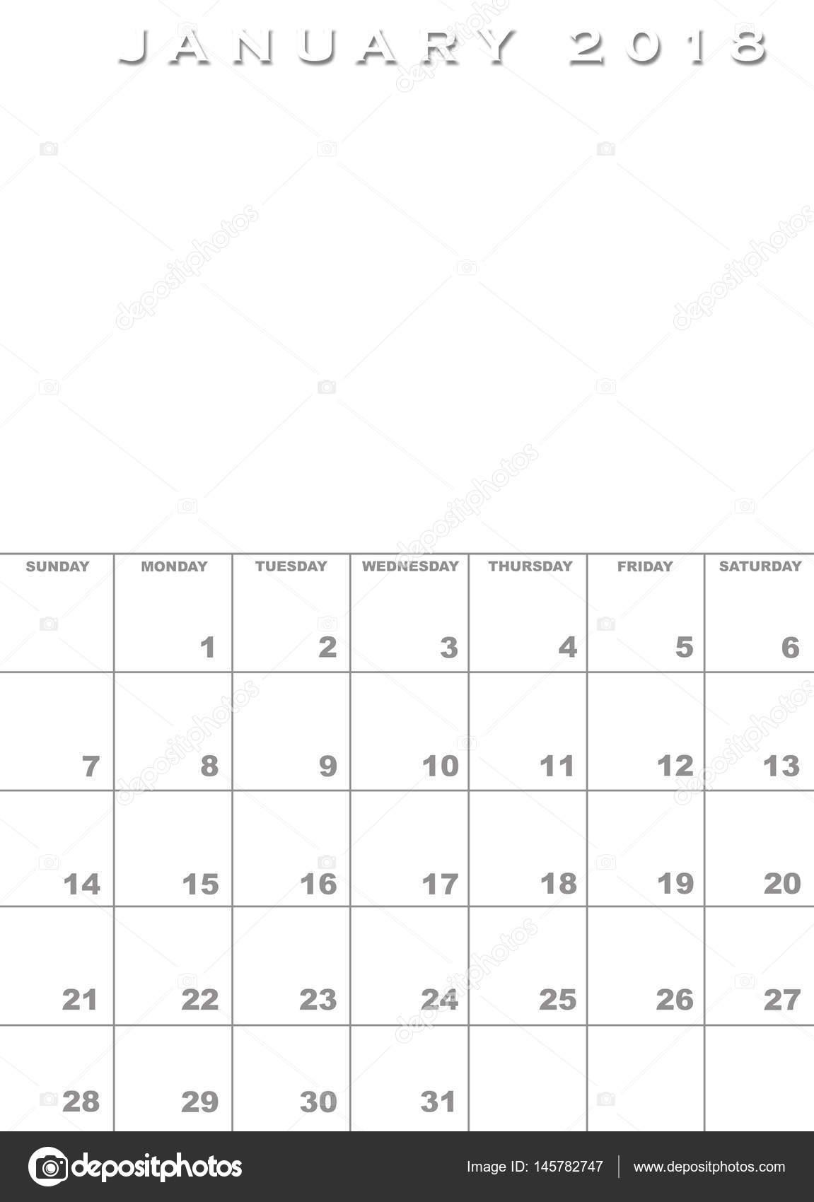 jan 2018 calendar template