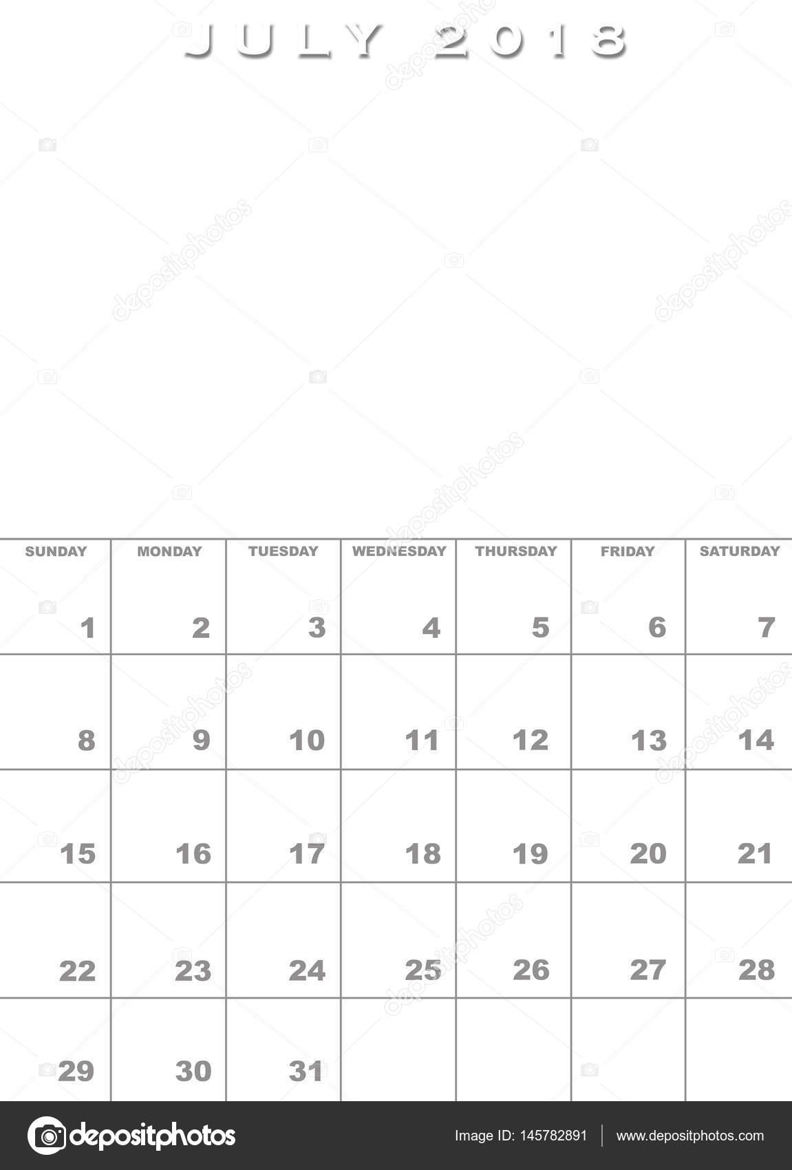 2019 július havi naptár Július 2018 Naptár sablon — Stock Fotó © paulvinten #145782891 2019 július havi naptár