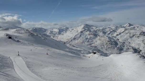 Panoramic view down a mountain valley range with ski piste