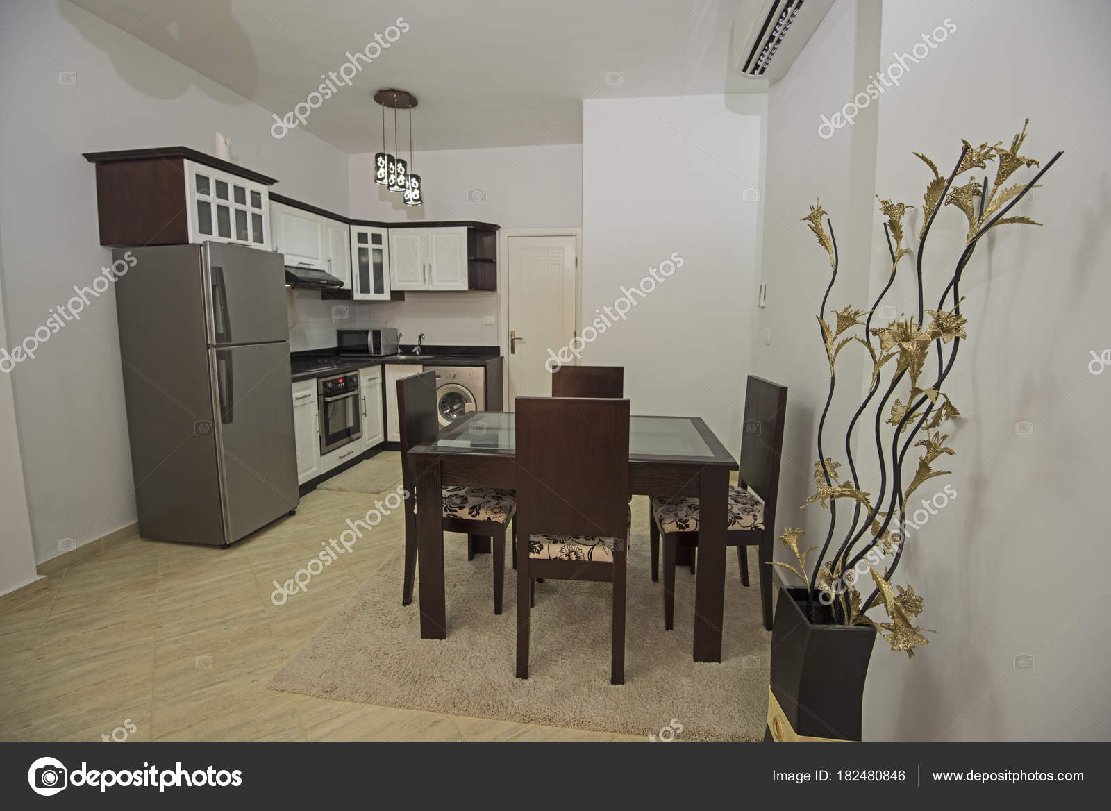 Interior decor design of kitchen in show home apartment stock photo