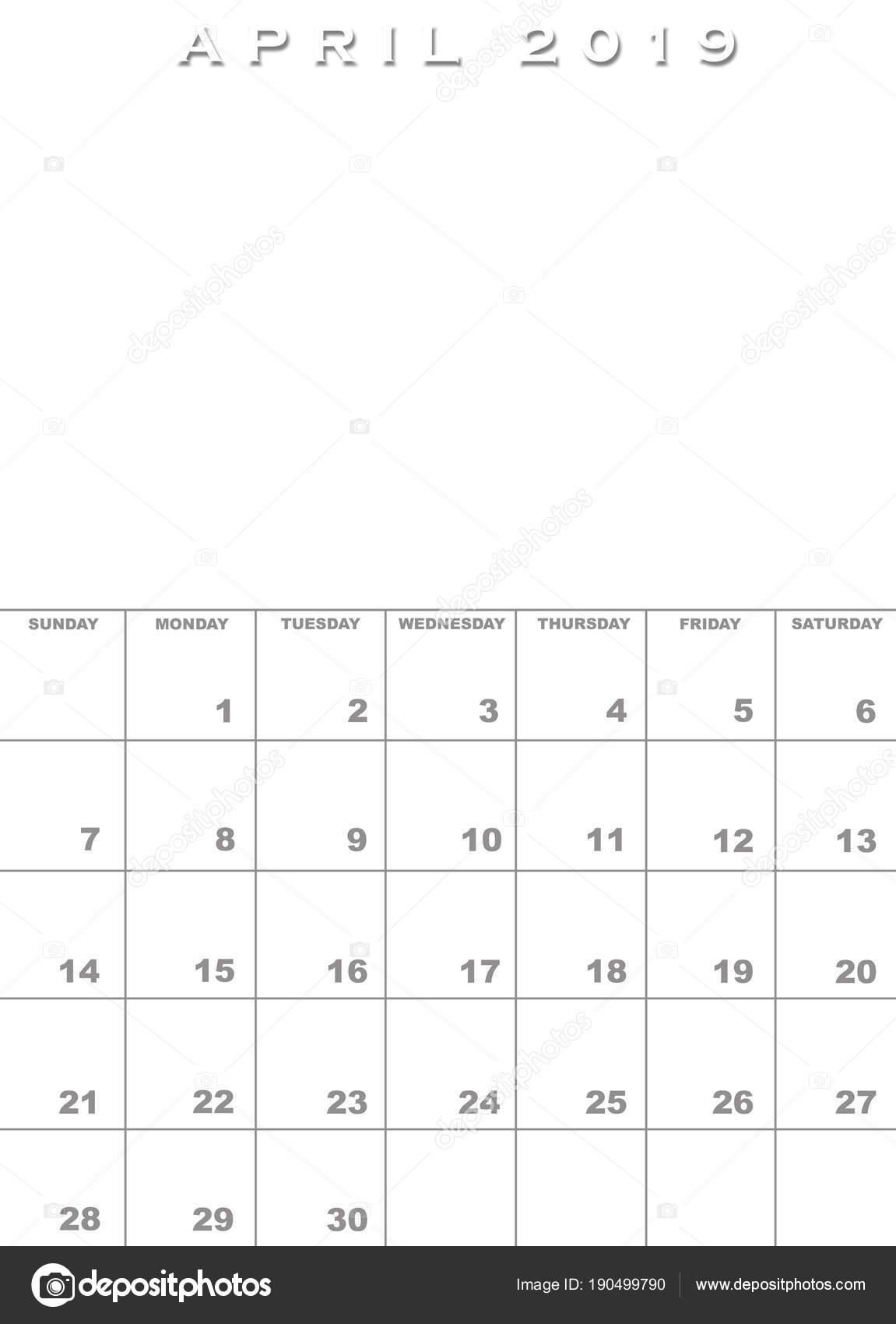 2019 áprilisi naptár Április 2019 Naptár sablon — Stock Fotó © paulvinten #190499790 2019 áprilisi naptár