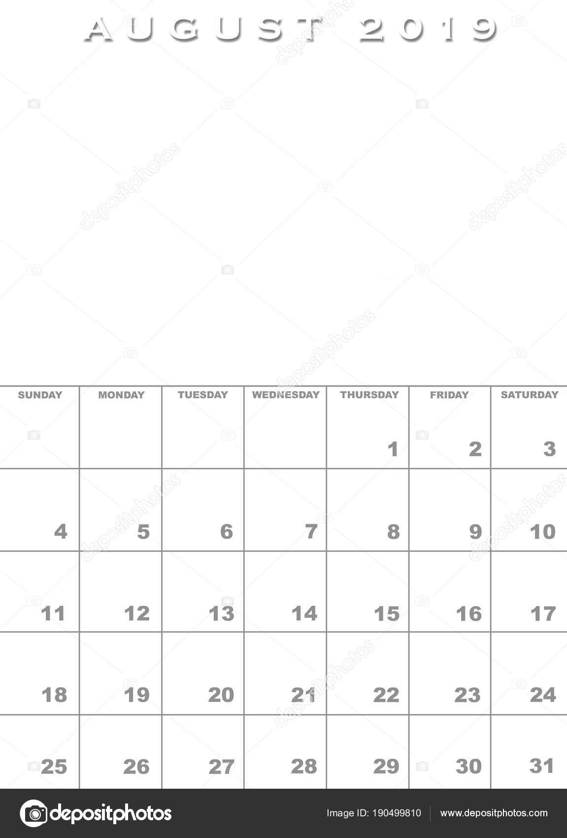 Kalendervorlage August 2019 — Stockfoto © paulvinten #190499810