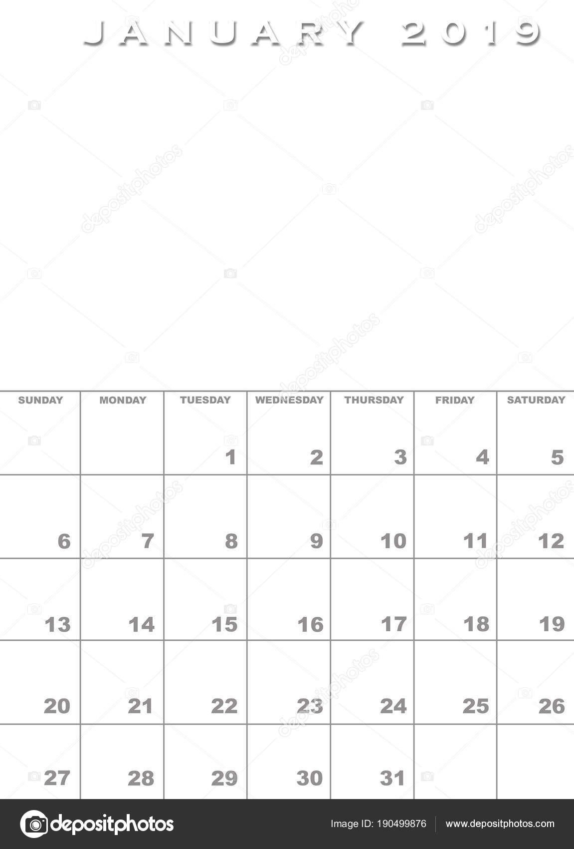üres naptár sablon 2019 Január 2019 Naptár sablon — Stock Fotó © paulvinten #190499876 üres naptár sablon 2019