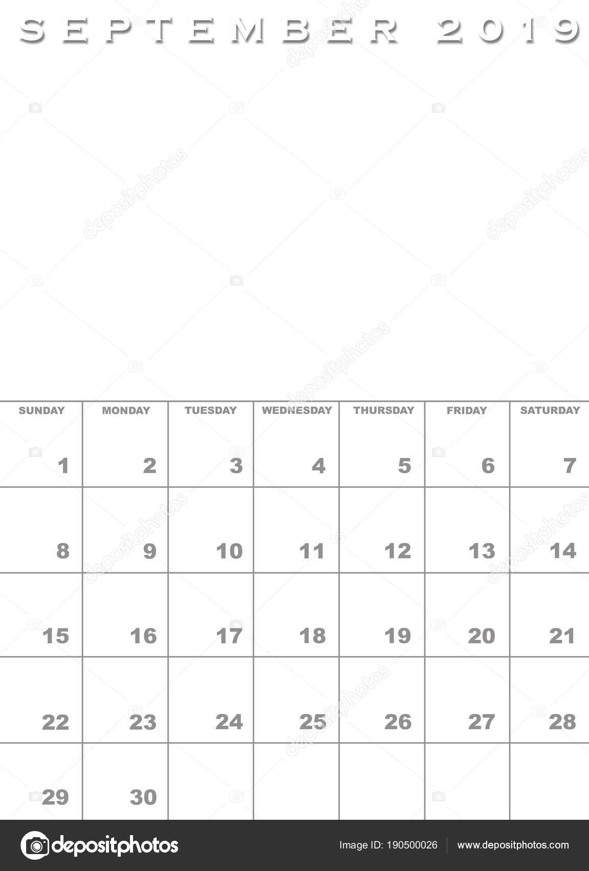 üres naptár sablon 2019 Szeptember 2019 Naptár sablon — Stock Fotó © paulvinten #190500026 üres naptár sablon 2019