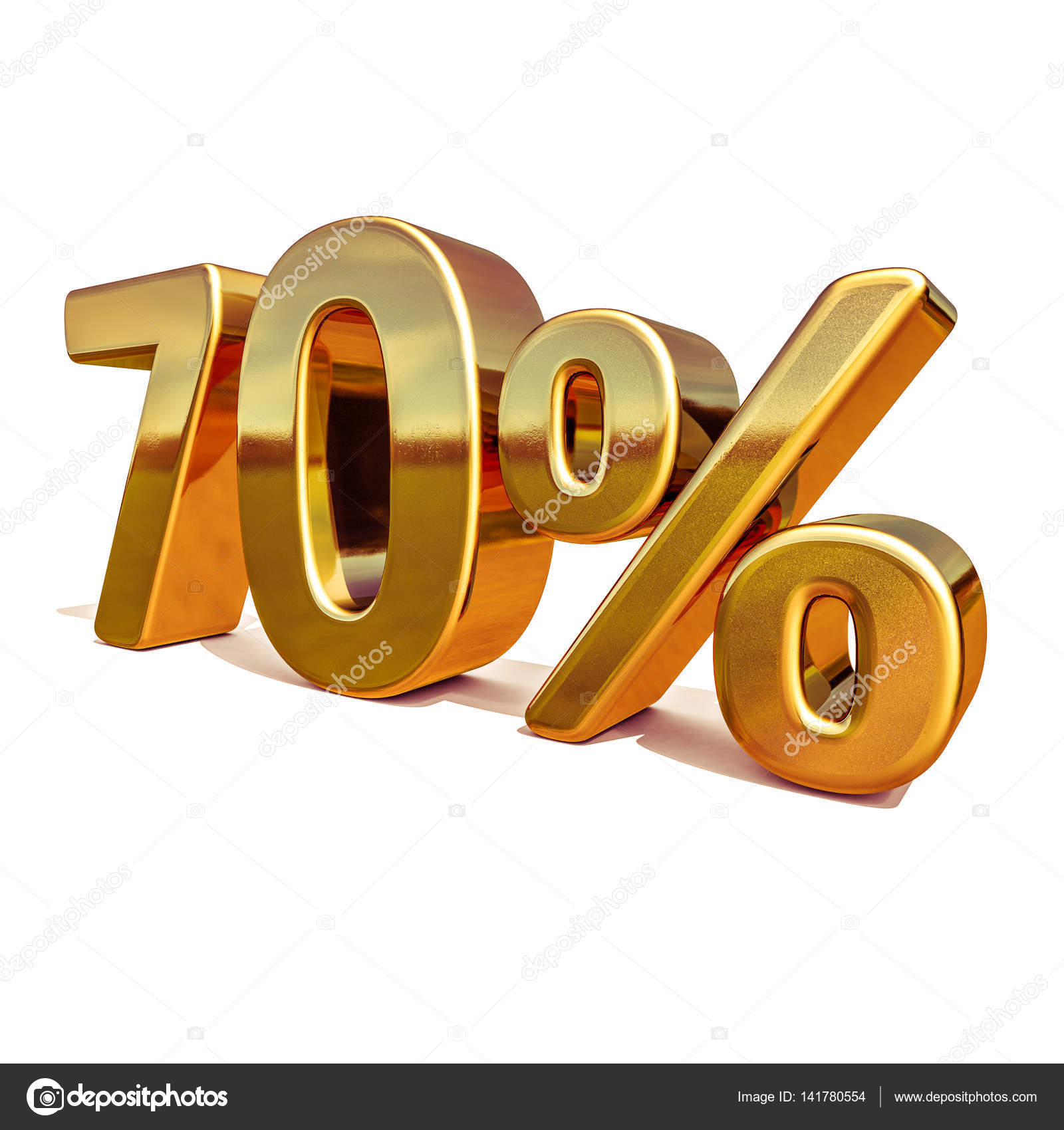 3d Gold 70 Seventy Percent Discount Sign Stock Photo