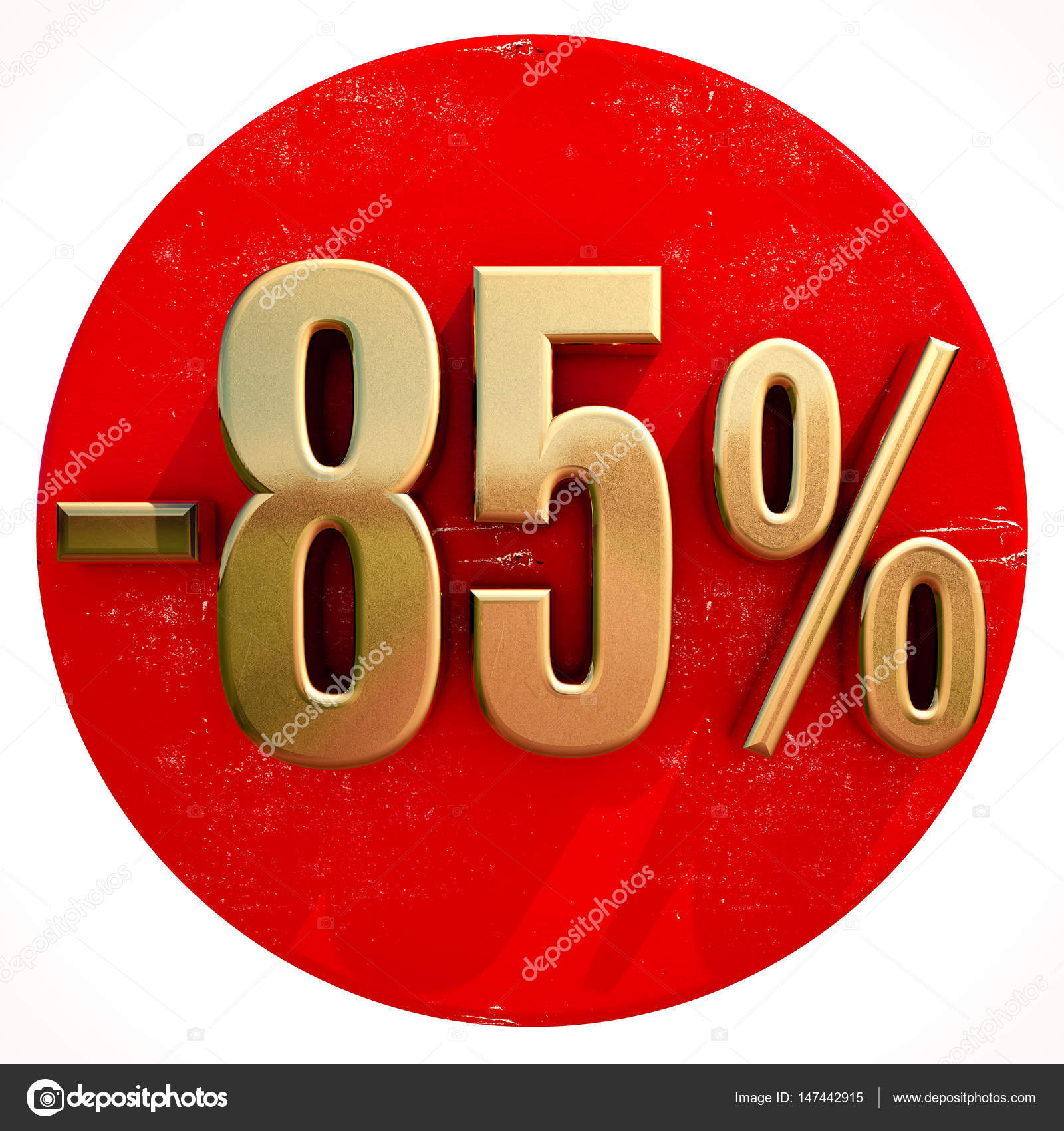 Gold 85 Percent Sign On Red Stock Photo Supertrooper 147442915