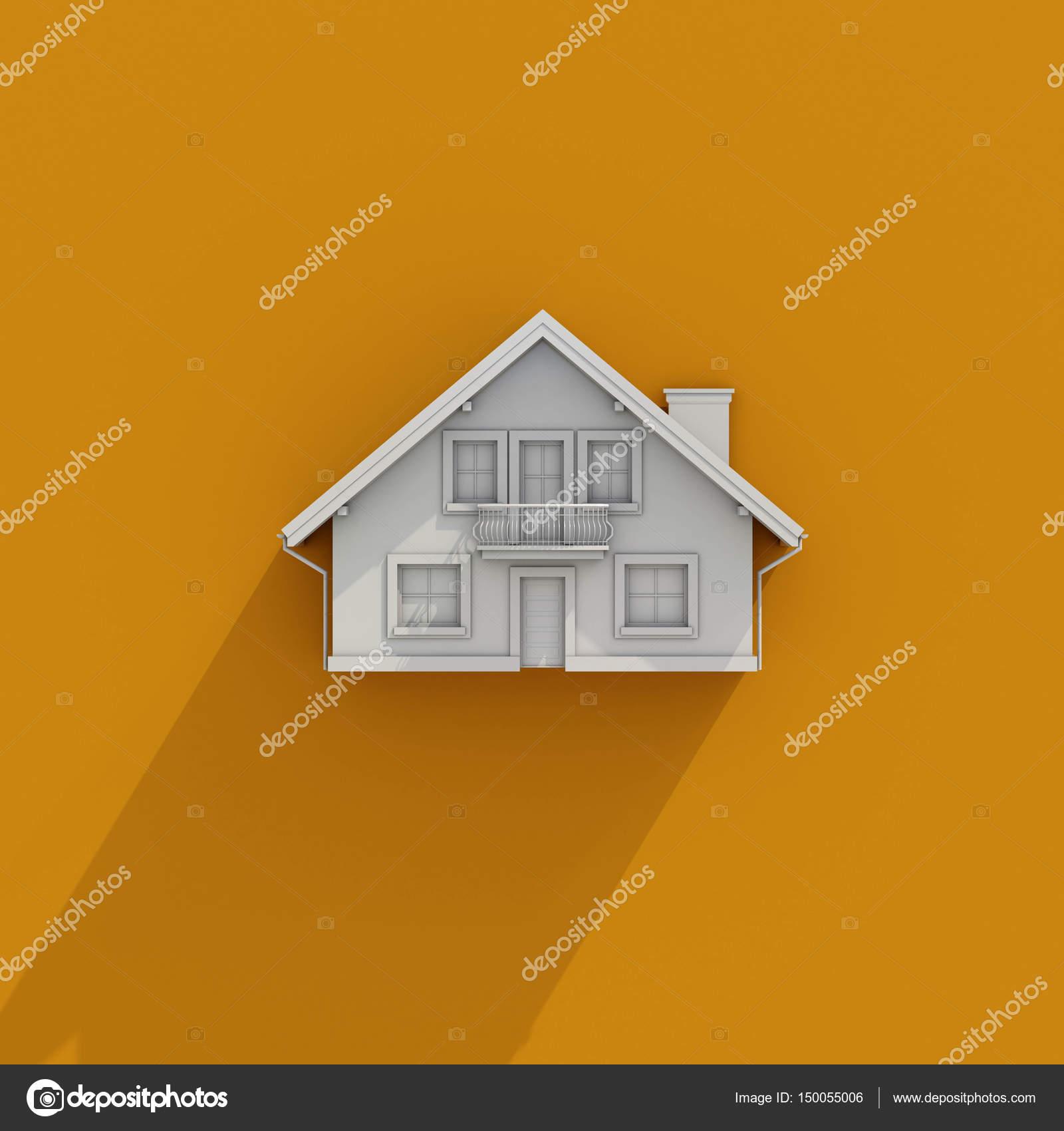 3D Haus Symbol Auf Orangem Hintergrund, Architektur, Gebäude, Bau,  Immobilien Und Eigenschaft Konzept, Kleines Haus, Immobilien, Wohnkonzept U2014  Foto Von ...