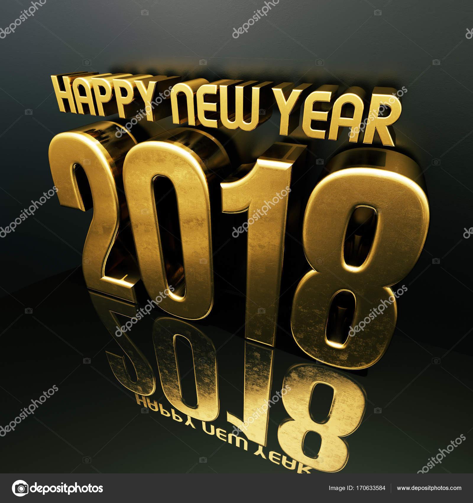 Happy New Year 2018 Text Design 3d Illustration Stock Photo