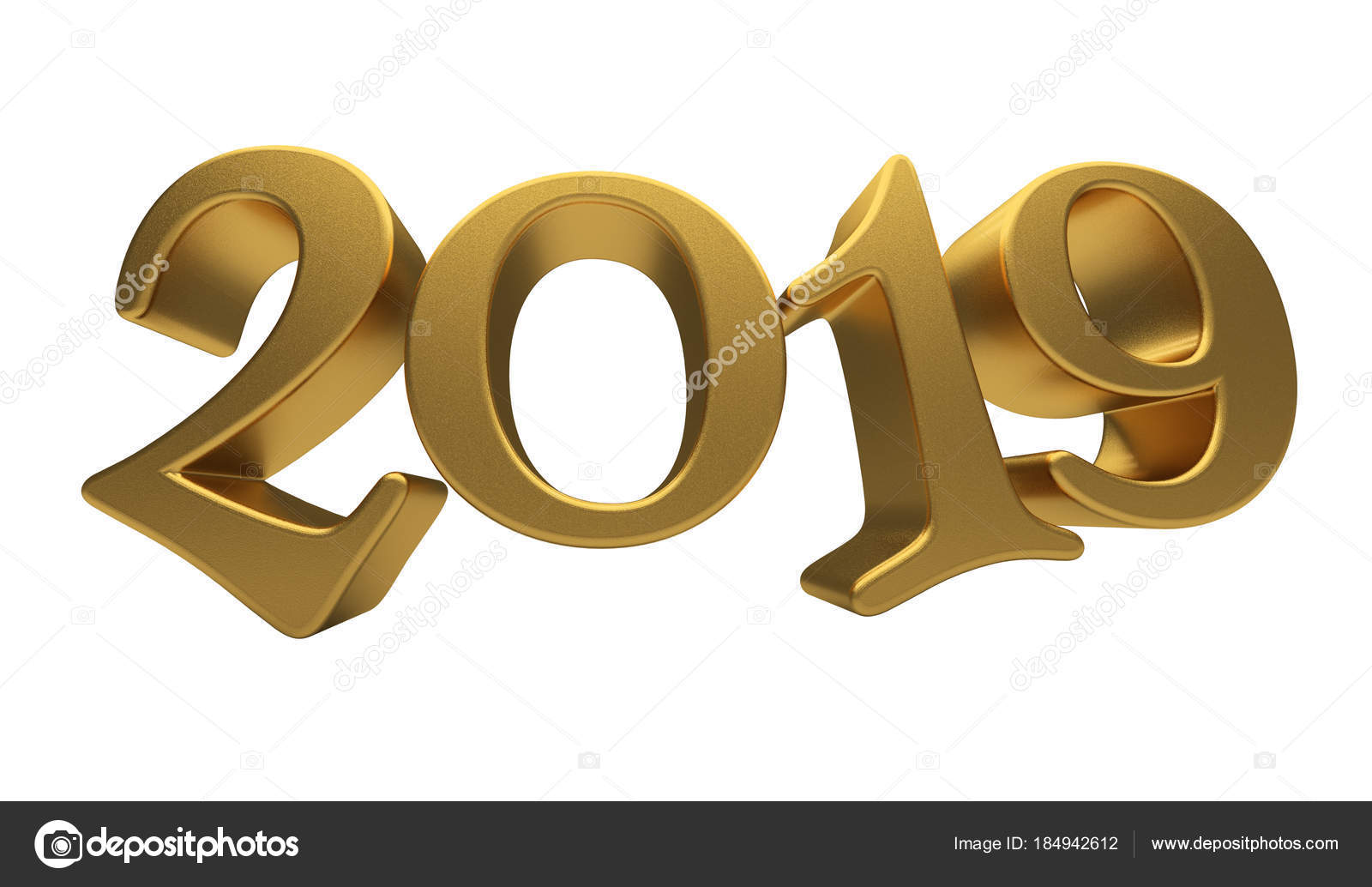 Greeting Card Design Template Gold 2019 Lettering Isolated Stock