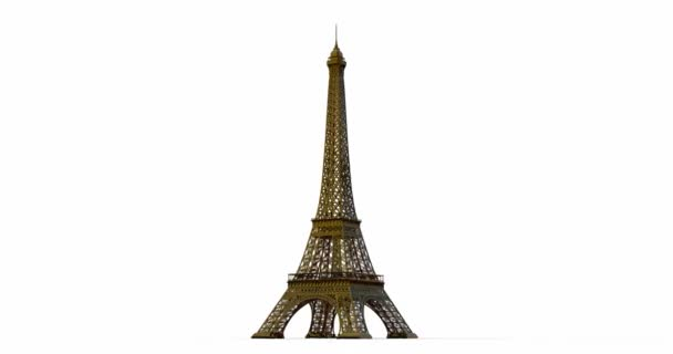 Orbit Animation ofEiffel Tower is Isolated on a White Background,Eiffel Tower on Champs de Mars in Paris, France, Famous Landmark of the World and Popular Attraction Site