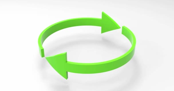 4K Animation Loop Orbit of Green Eco Recycle Arrows, Recycled Icon and Rotation Cycle Symbol with Arrows, Recycled Materials Sign for Ecological Design Zero Waste Lifestyle, Ecology Thinking, Eco