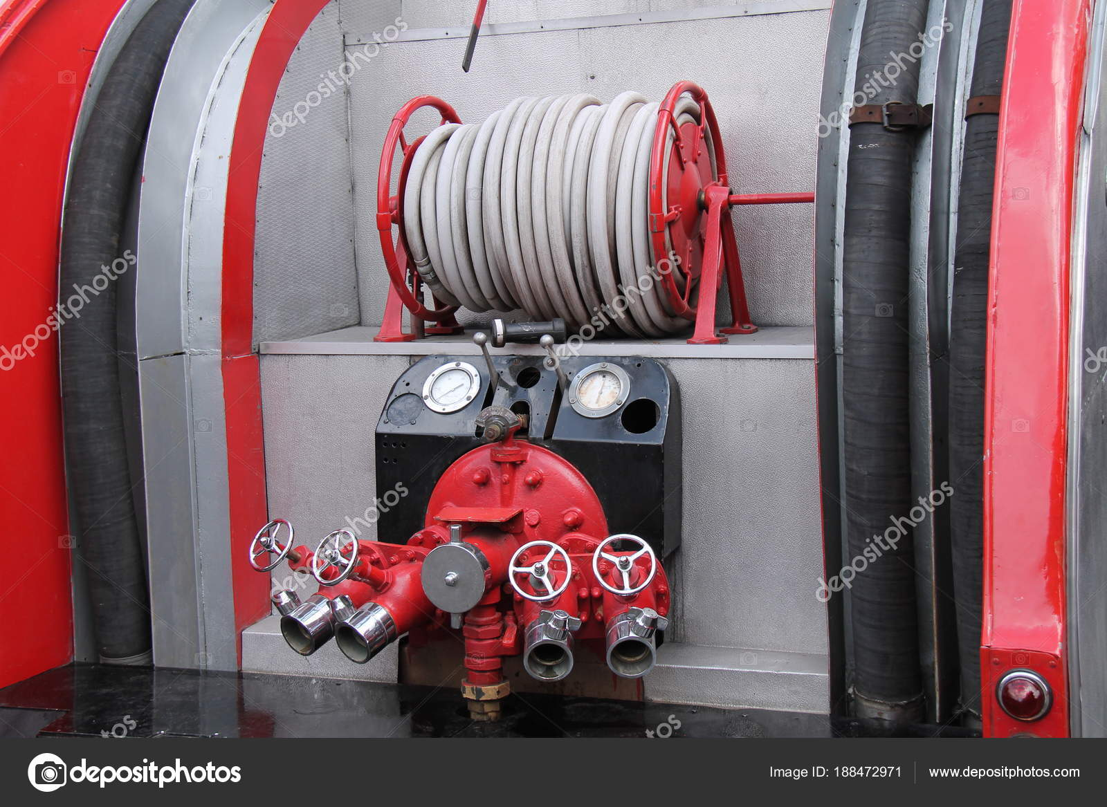 Hose Valves Rear Vintage Fire Engine — Stock Photo © daseaford ...