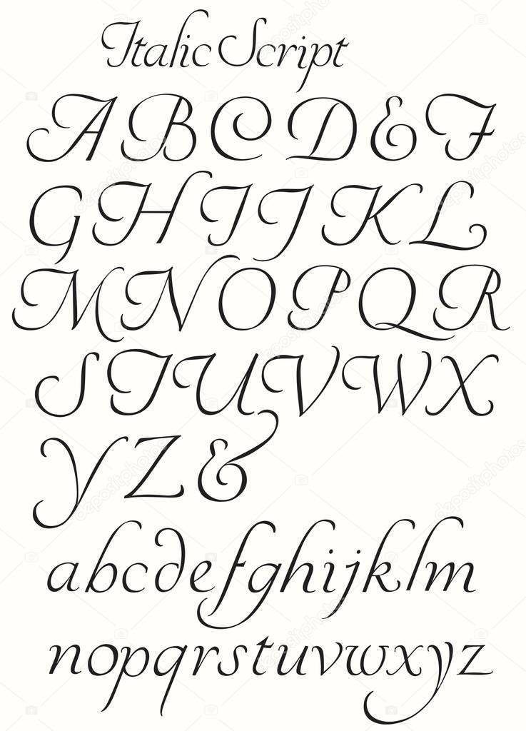cursief script alfabet hoofdletters en kleine letters — stockvector