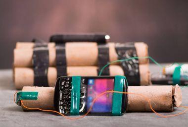 Close up shot of improvised explosive device bomb