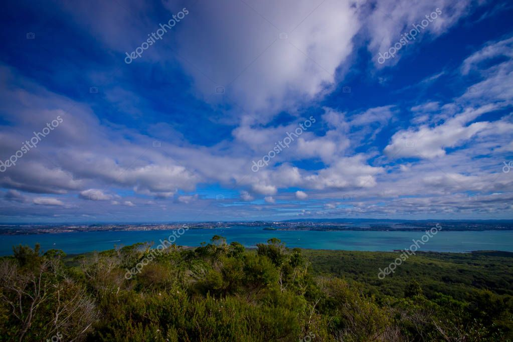 View to Rangitoto Island from North Head in a sunny day with a beautiful blue sky