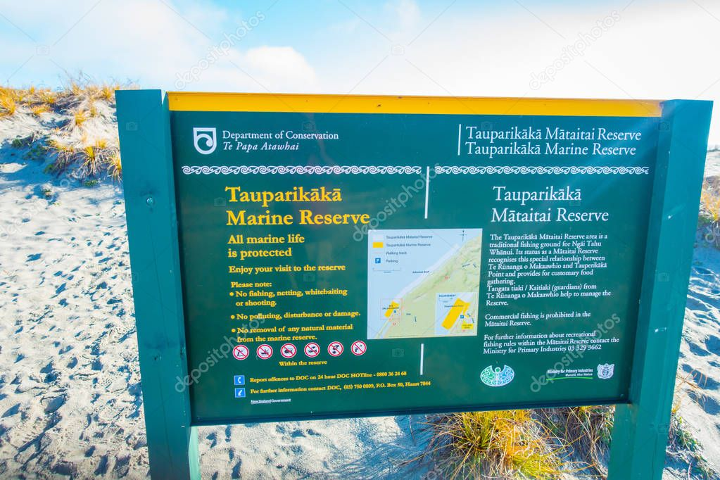 SOUTH ISLAND, NEW ZEALAND- MAY 23, 2017: Informative sign of marine reserve located in South Island in New Zealand