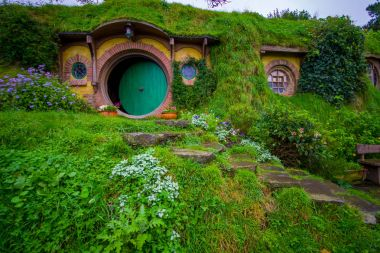 NORTH ISLAND, NEW ZEALAND- MAY 16, 2017: The front gate of Bag End, Hobbiton, the home of key character in the famous movie. Hobbiton is the fictional village created for the movie Lord of the Rings