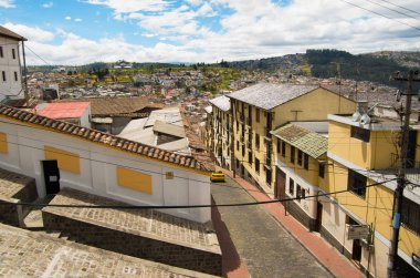 Top view of the colonial town with some colonial houses located in the city of Quito