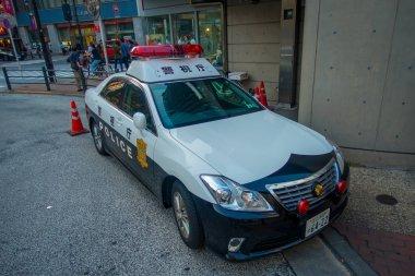 TOKYO, JAPAN JUNE 28 - 2017: Tokyo Metropolitan Police Department car parked in front of the central station of Tokyo