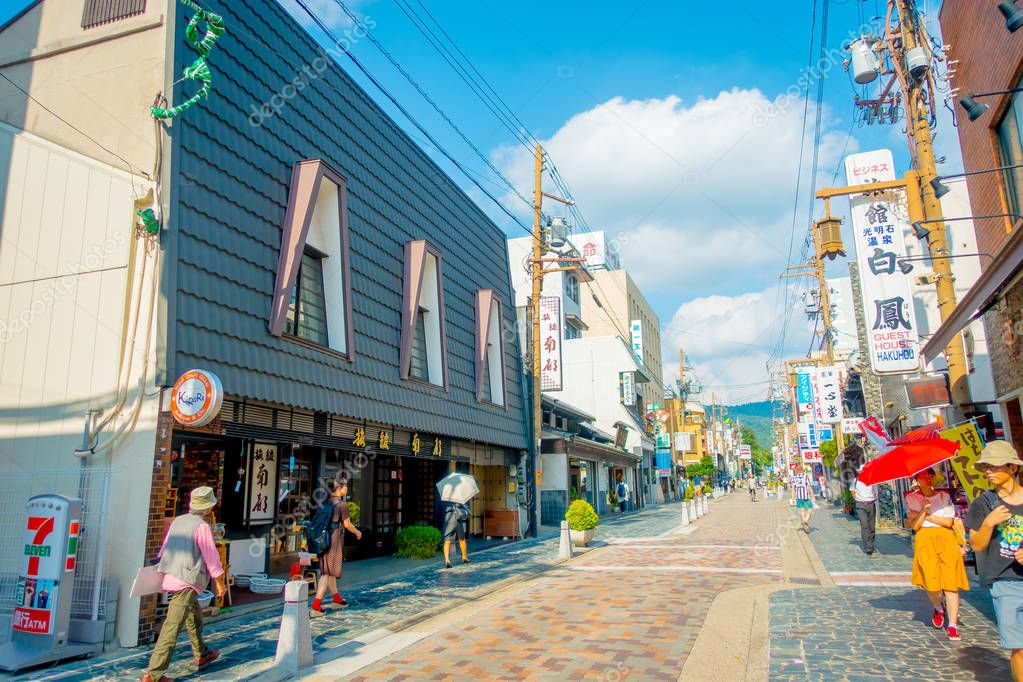 Nara, Japan - July 26, 2017: Unidentified people walking at the streets and visit a shopping area in Nara, Japan. Nara is a former capital city of Japan. Nowadays its a big city inhabited by 368,636