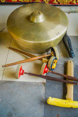 BALI, INDONESIA - MARCH 08, 2017: Hindu musical instruments inside of the temple, traditional national instruments, in Denpasar, Bali Indonesia