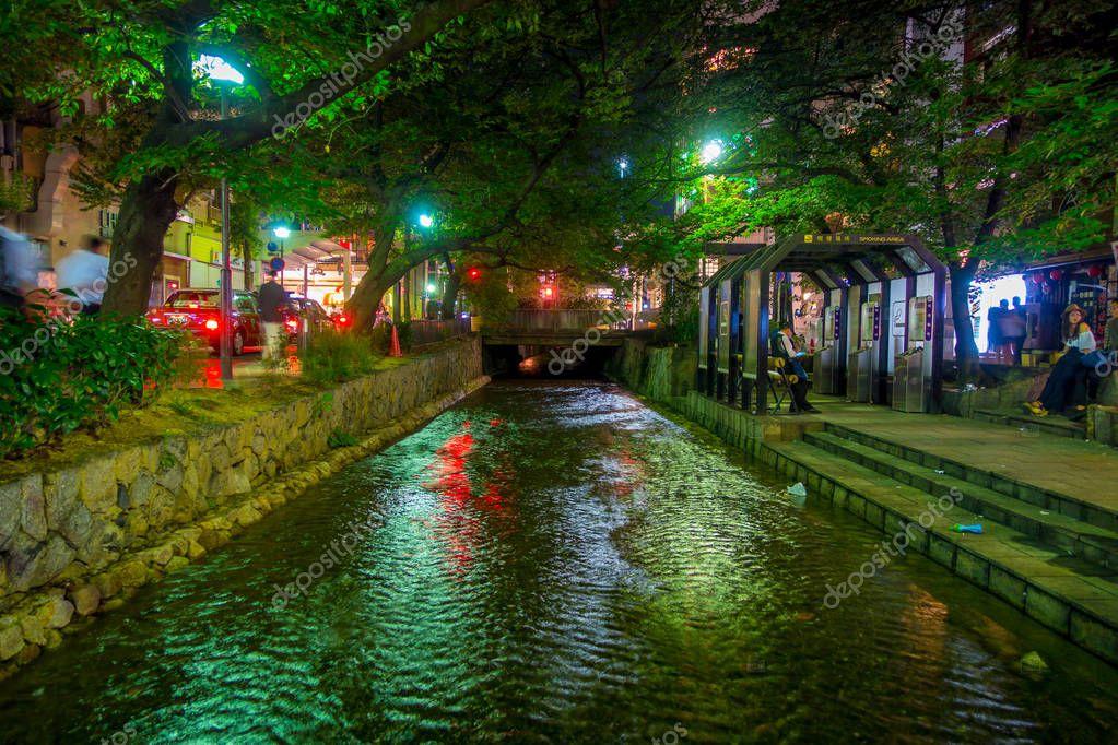 KYOTO, JAPAN - JULY 05, 2017: Kyoto, Japan at the Shirakawa River in the Gion District during the spring. Cherry blosson season in Kyoto, Japan