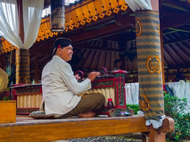 JOGJA, INDONESIA - AUGUST 12, 2O17: Artist musicians performing traditional music instrument called Jegog Suar Agung from Jembrana Bali, Indonesia