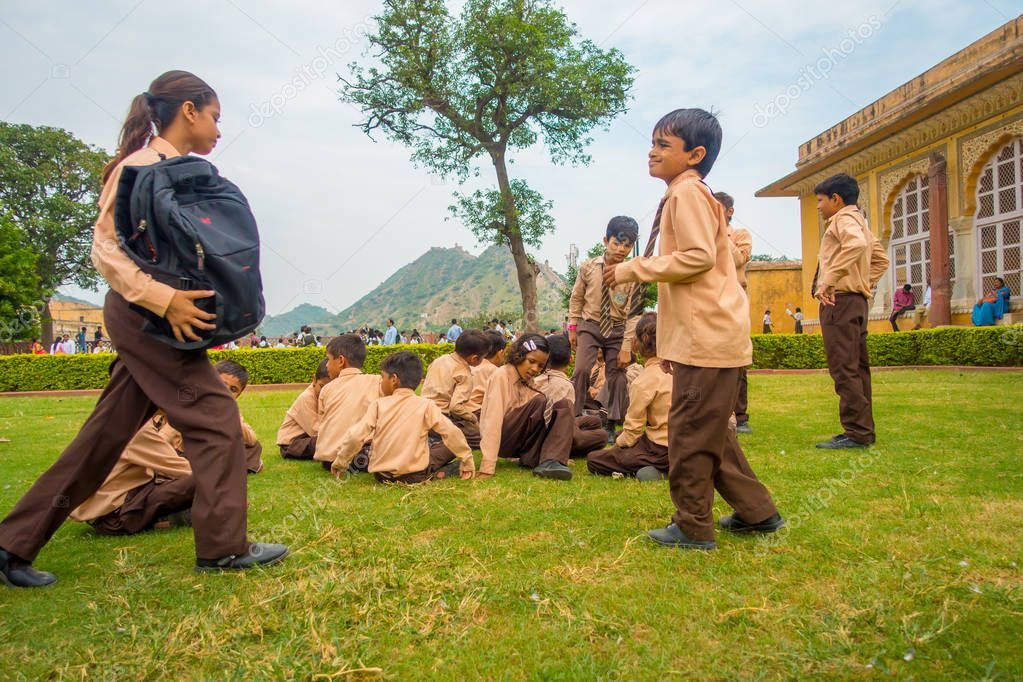 Amber, India - September 19, 2017: Unidentified children at school class in Amber