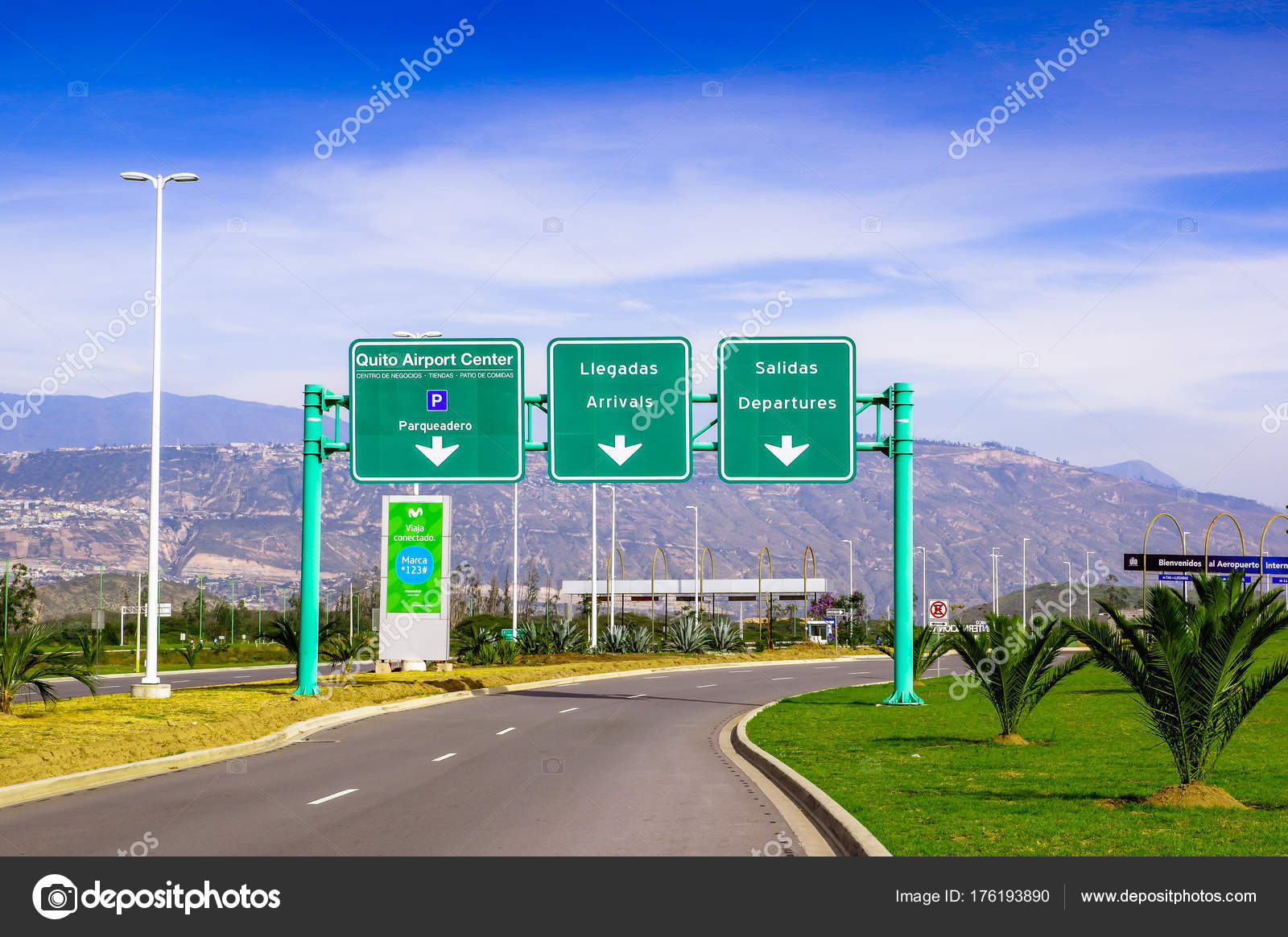 Quito, Ecuador - November 23 2017: Informative sign of Quito airport