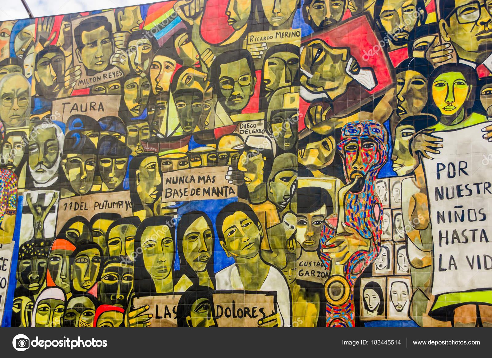 QUITO, ECUADOR AUGUST 20 2017: Beautiful mural graffiti on a wall in ...