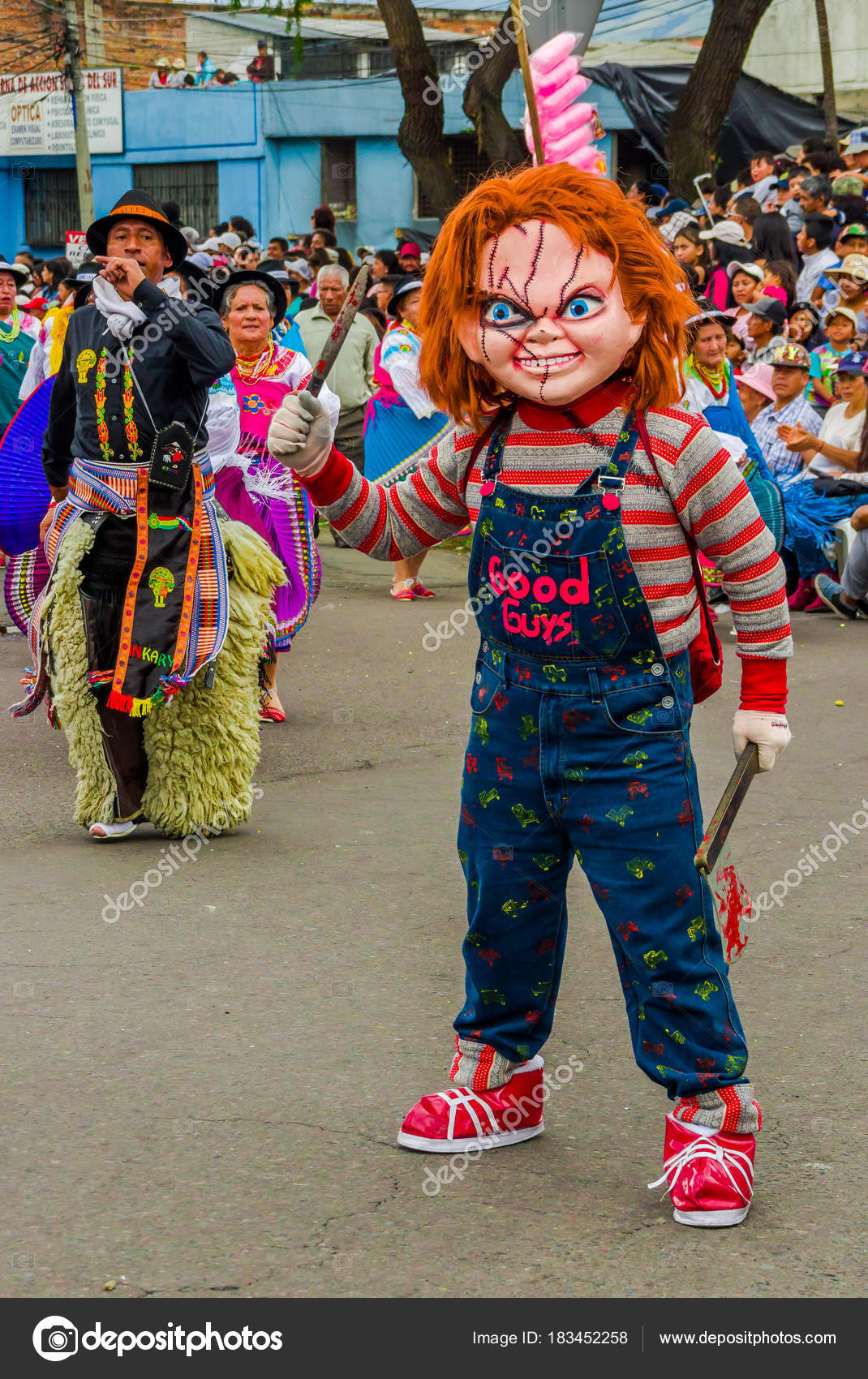 Quito Ecuador - January 31 2018 Unidentified man wearing a Chucky costume holding  sc 1 st  Depositphotos & Quito Ecuador - January 31 2018: Unidentified man wearing a Chucky ...