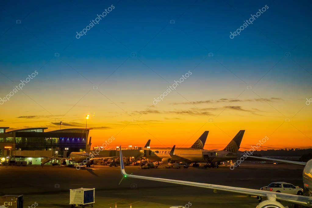 HOUSTON, EEUU, JANUARY, 29, 2018: Beautiful outdoor view of a Boeing 777-200 of United Airlines in the airport of Houston in a sunset