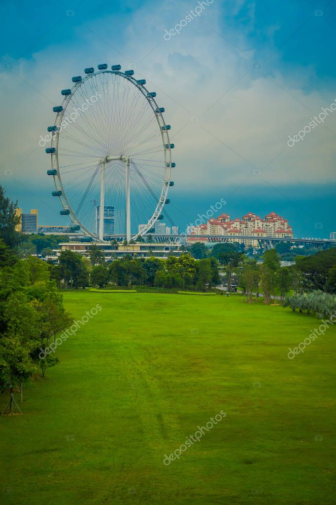 SINGAPORE, SINGAPORE - FEBRUARY 01, 2018: Singapore Flyer - the Largest Ferris Wheel in the World located in Singapore