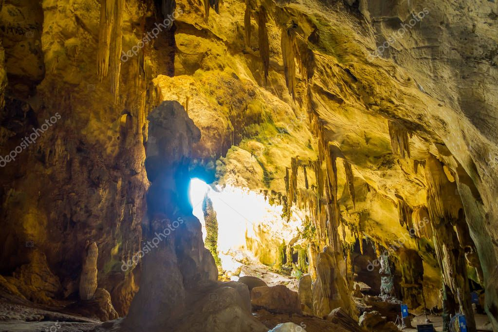 Ancient cave Khao khanabnam in Krabi province, Thailand