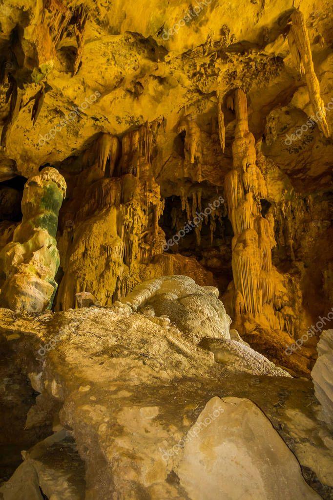 Beautiful indoor view of ancient cave Khao khanabnam in Krabi province, Thailand
