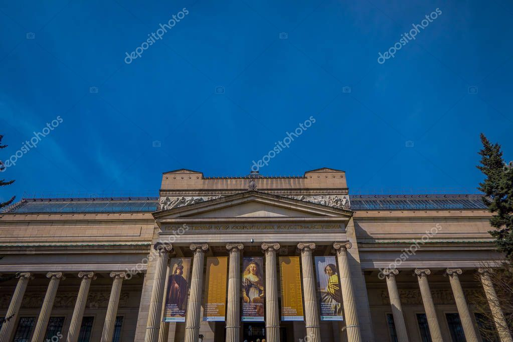 MOSCOS, RUSSIA- APRIL, 24, 2018: Outdoor view of classic building of the Pushkin Museum of Fine Arts in Moscow