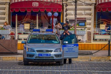 MOSCOW, RUSSIA- APRIL, 29, 2018: Russian police patrol cars parked on the Red Square in Moscow, Russia