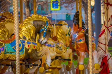 Close up of details of carousel horses located in a park close to Red Square Moscow