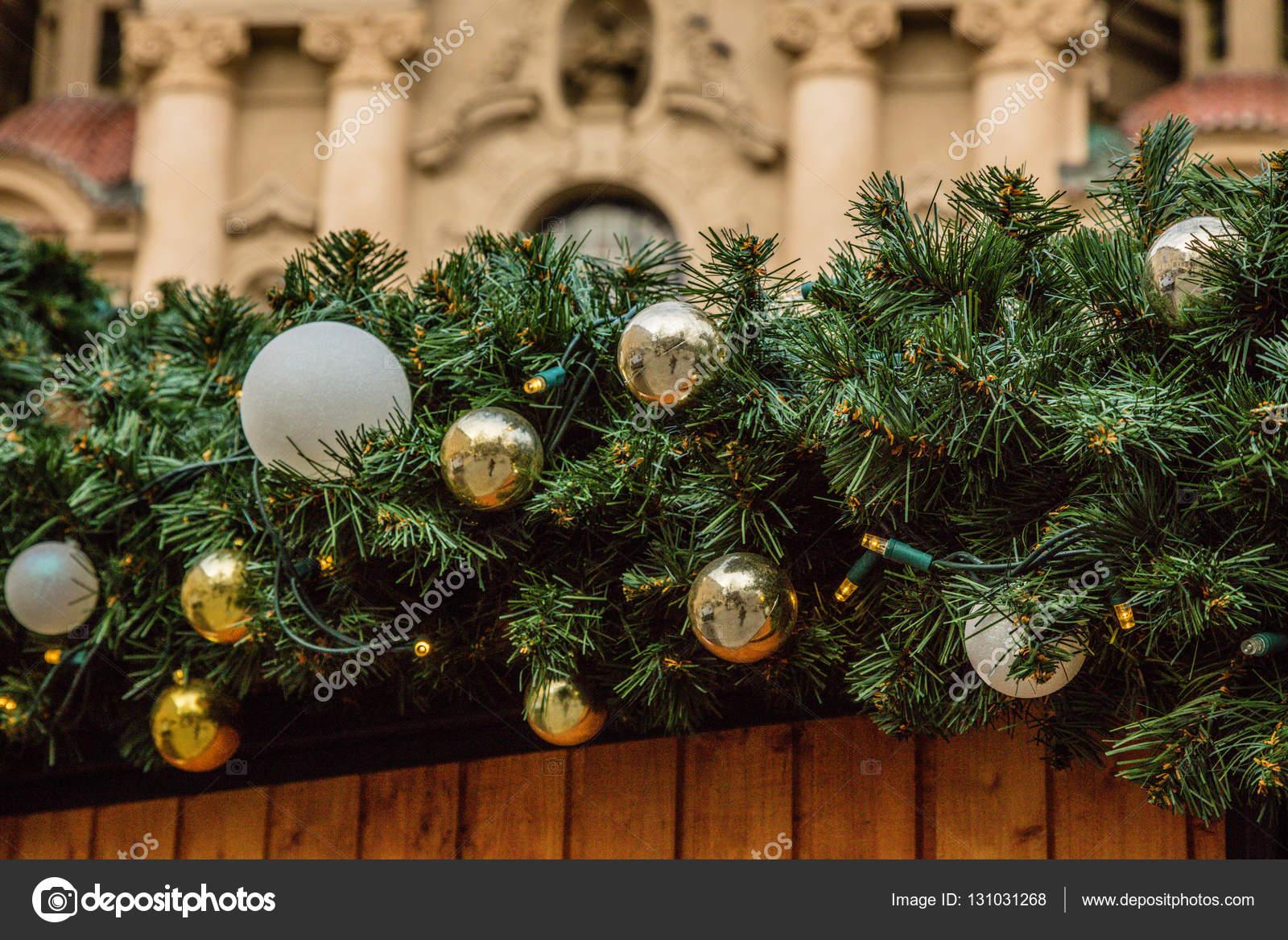 Strasse Weihnachtsschmuck Prag Tschechische Republik Stockfoto