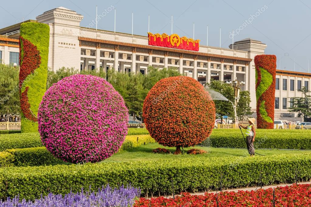 Flowerbeds at Tiananmen Square, Beijing, China
