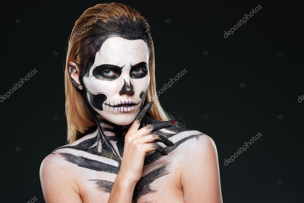 Young woman with gothic skeleton makeup — Stock Photo ...