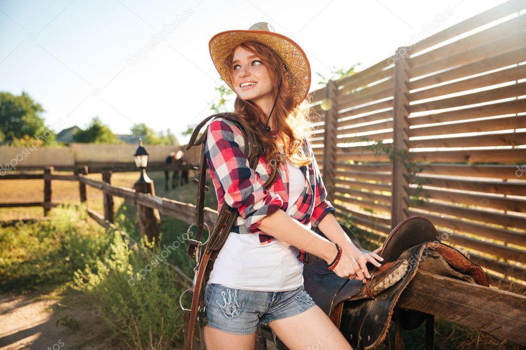 Mexikanisches Cowgirl Beim Reiten